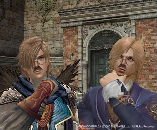 가르시아와 레이븐이 코안경을 착용하고 정면을 바라보면서 생각하기 포즈를 하고 있다.