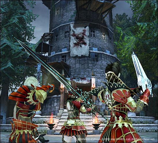 낡은 등대 앞에 강려크해 보이는 갑옷과 무기를 착용한 파이터, 워록, 머스킷티어가 서있다.