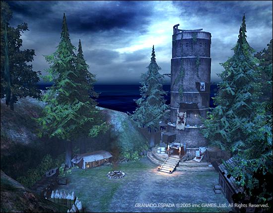 하늘에는 음산한 기운이 가득한 어두운 배경. 낡은 등대가 홀로 서 있다.