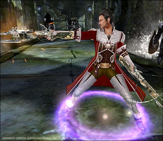 베일이 한쪽 석궁을 들어 몬스터를 공격하고 있다.