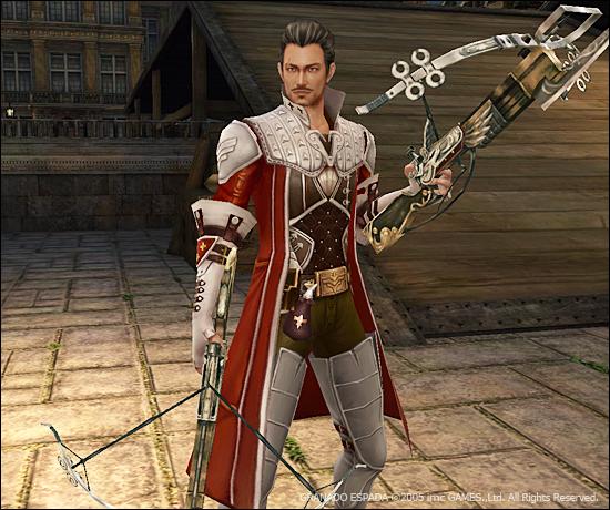 베일이 양손에 석궁을 들고 서 있다.