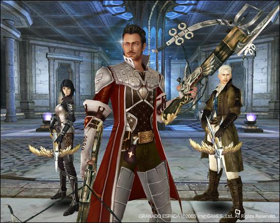 베일이 양손에 석궁을 들고 서 있으며 뒤에는 한손에만 석궁을 든 칼리와 랄프가 서있다.