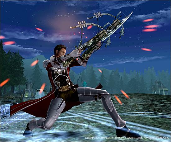 베일이 하늘을 향해 석궁을 겨두고 있다.