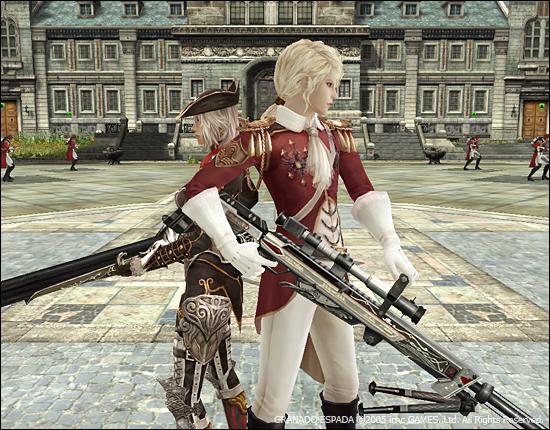 베르넬리와 케스가 총을 들고 등을 기대고 있는 이미지.