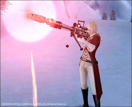 총구에서 강한 이펙트가 보이며 케스가 총을 쏘고 있다.