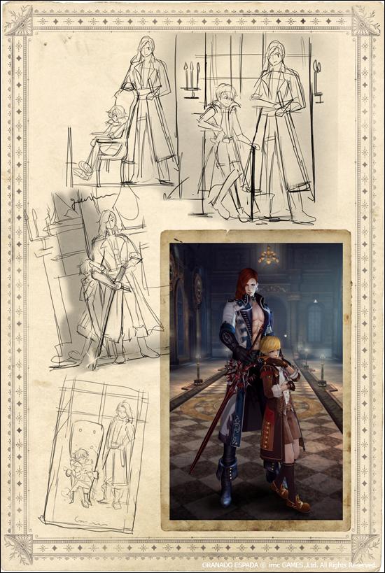 몬대위와 몬토로의 투샷 이미지를 위한 스케치