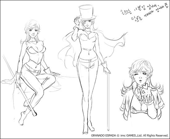너클들 캐릭터 포즈 스케치