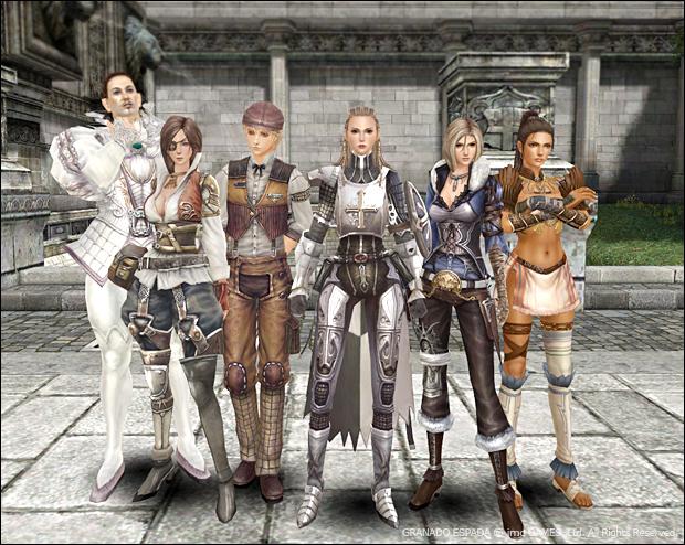 리볼~에라크까지 대표 캐릭터들이 서있다